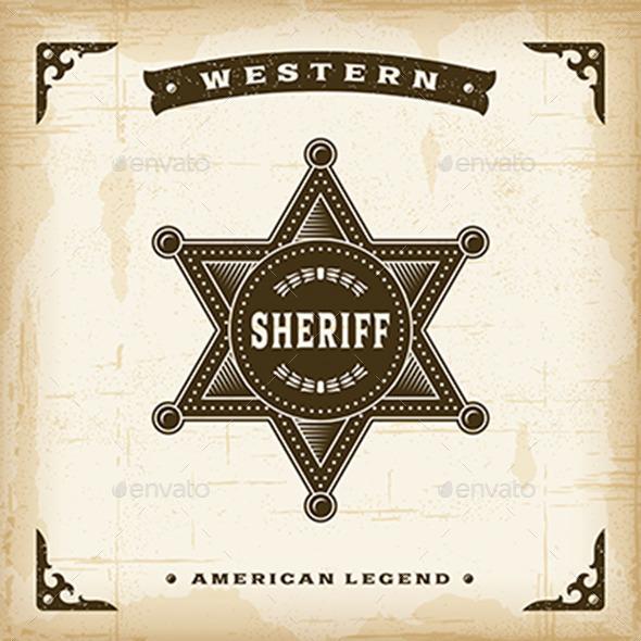 Vintage Western Sheriff Badge - Decorative Symbols Decorative