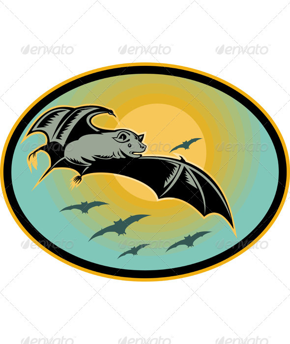 Bat Flying With Moon Retro Woodcut Style - Animals Characters
