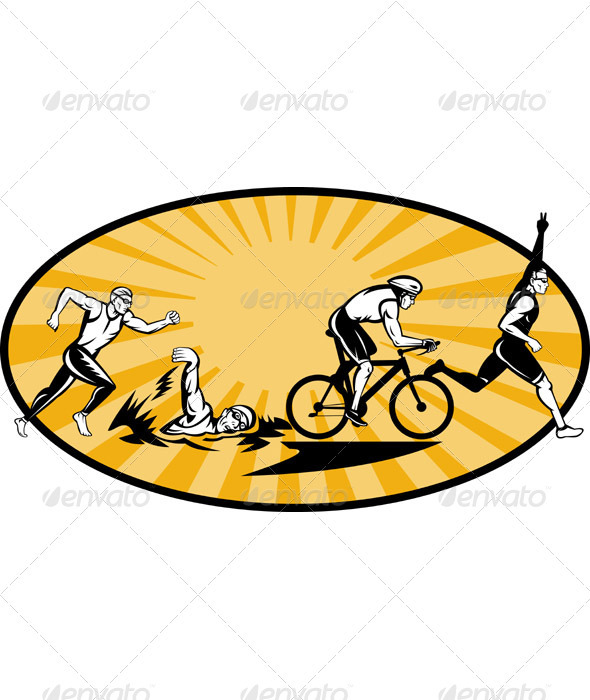 Triathlon Athlete Swim Run Bike Woodcut - Sports/Activity Conceptual