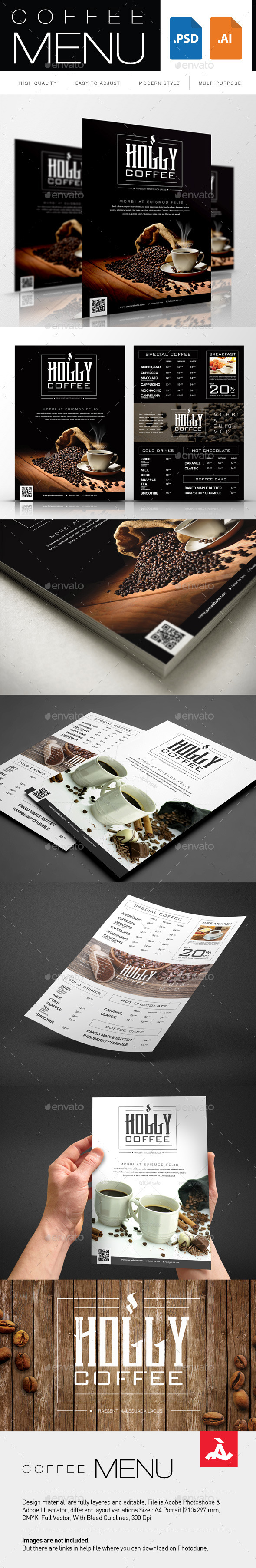 Coffee Menu Restaurant Flyers - Flyers Print Templates