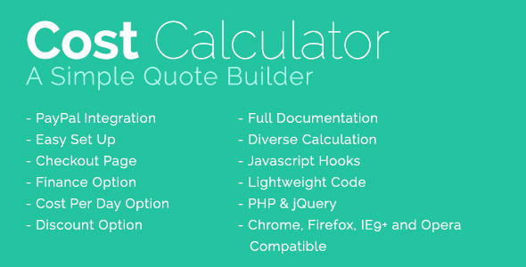 Cost Calculator With PayPal Integration - CodeCanyon Item for Sale