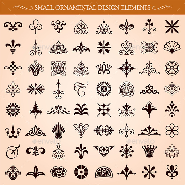 Small Ornamental Design Elements - Flourishes / Swirls Decorative