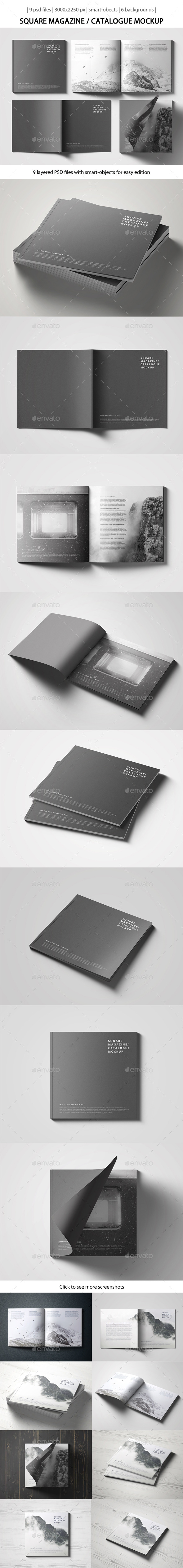 Square Magazine / Catalogue Mockup - Magazines Print