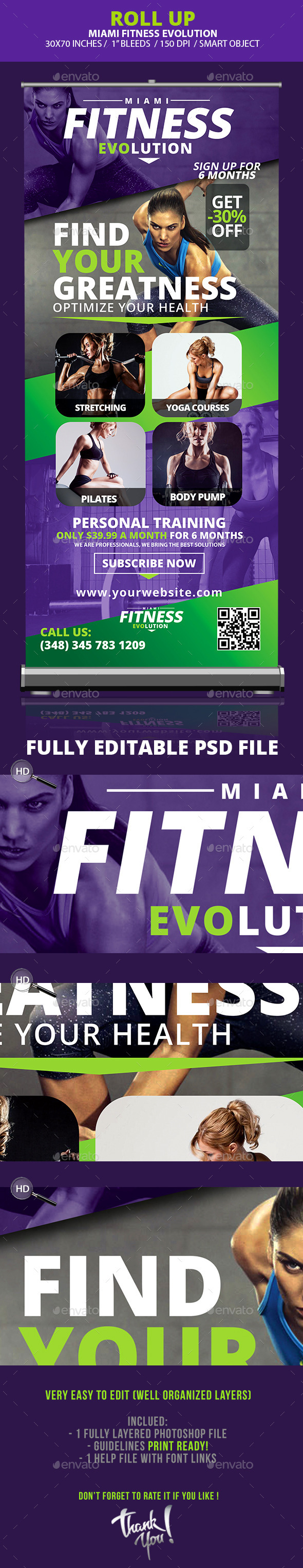 Fitness Evolution Roll-up Banners  - Signage Print Templates