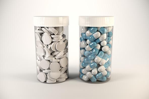 Medicine bottles with customisable labels - 3DOcean Item for Sale