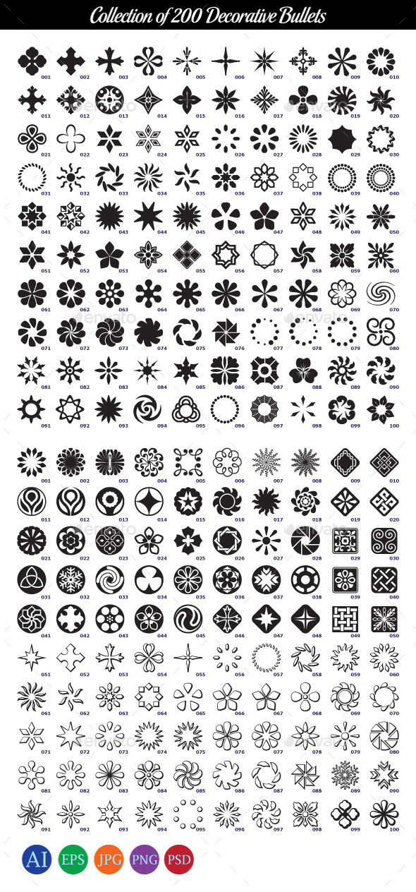 Collection of 200 Decorative Bullets - Patterns Decorative
