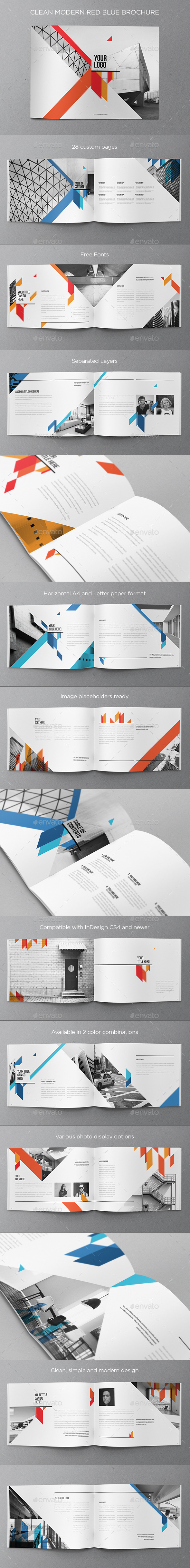Clean Modern Red Blue Brochure - Brochures Print Templates