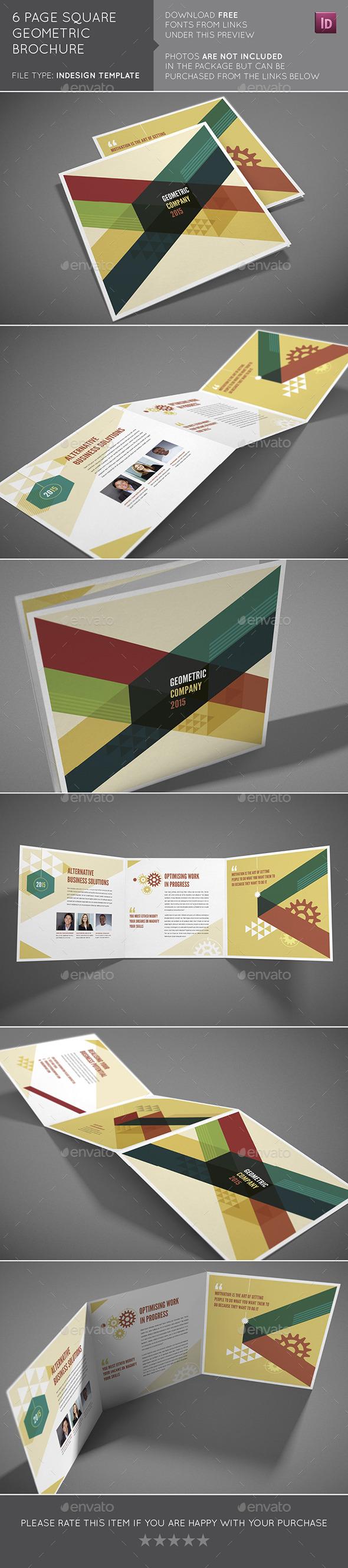 6 Page Square Geometric Brochure - Brochures Print Templates