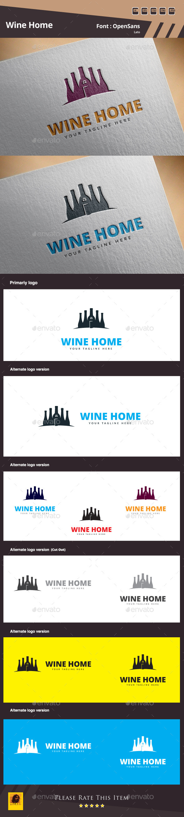 Wine Home Logo Template - Food Logo Templates