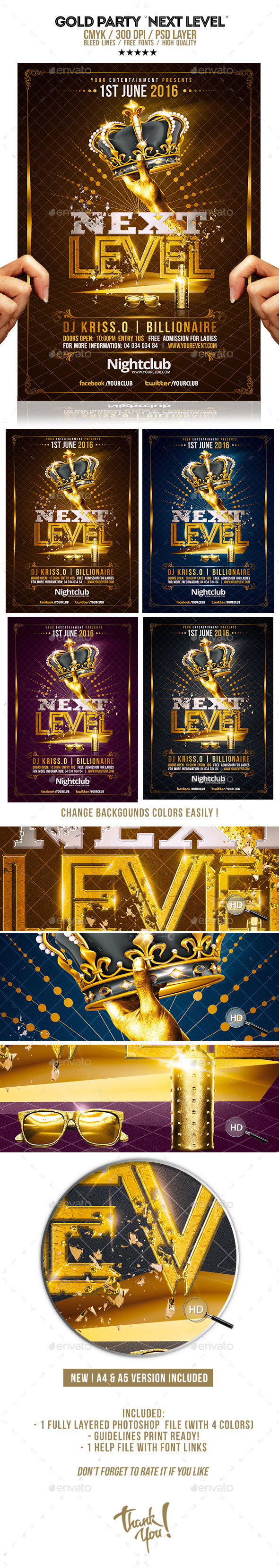 Gold Party | Next Level Template - Clubs & Parties Events