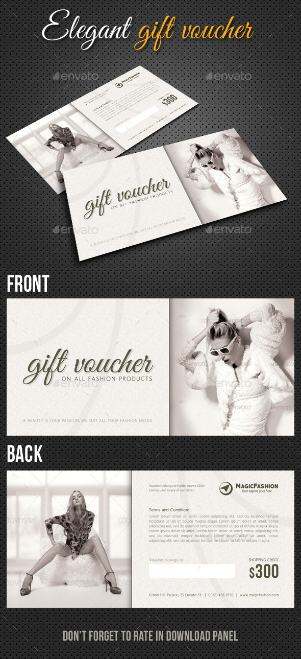 Elegant Gift Voucher V01 - Cards & Invites Print Templates