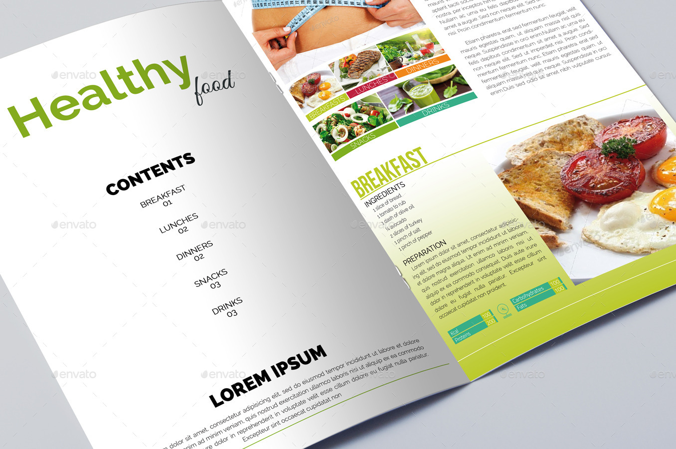 Healthy Diet Food Brochure Template By Erseldondar GraphicRiver - Food brochure templates