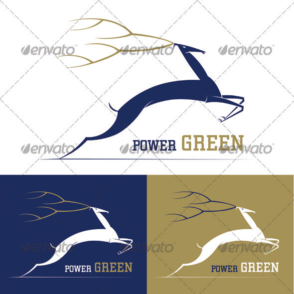 Deer Power Green Logo Template - Animals Logo Templates