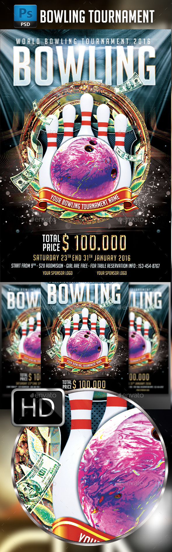 Bowling Flyer Template | Bowling Tournament Flyer Template By Madededuk Graphicriver