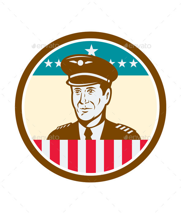Airline Pilot Aviator USA Flag Circle Retro - People Characters