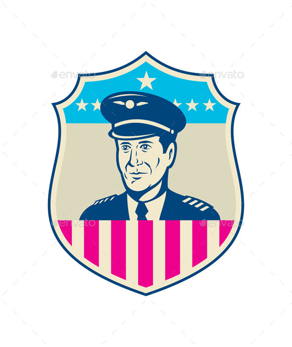 American Airline Pilot Aviator USA Flag Shield - People Characters