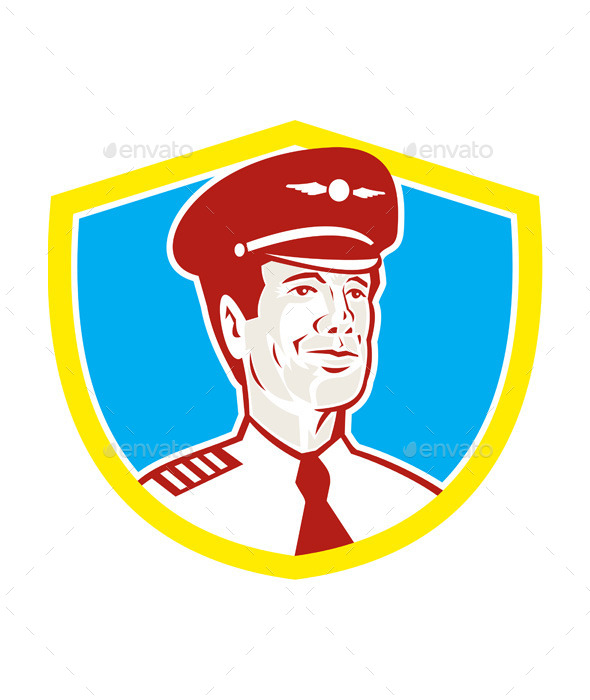 Aircraft Retro Pilot Aviator Shield  - People Characters
