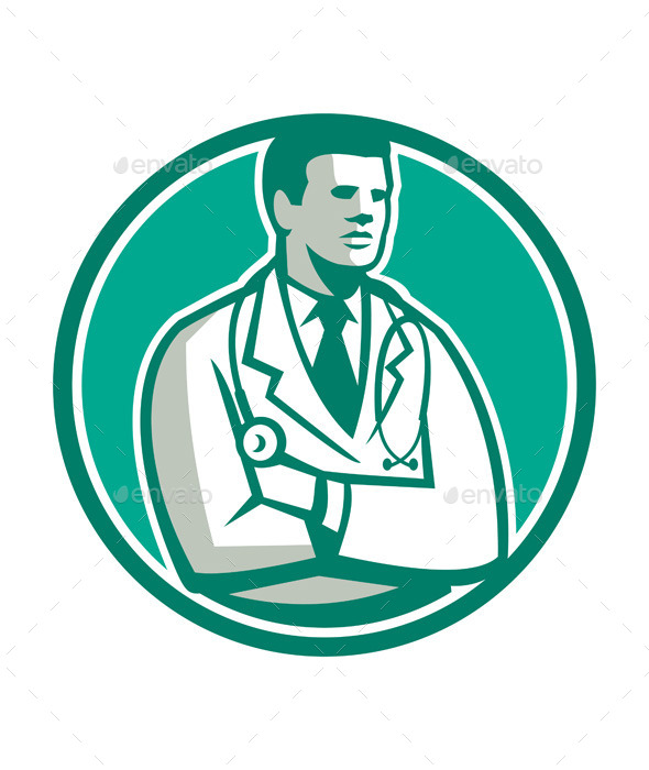 Doctor Stethoscope Standing Circle - People Characters