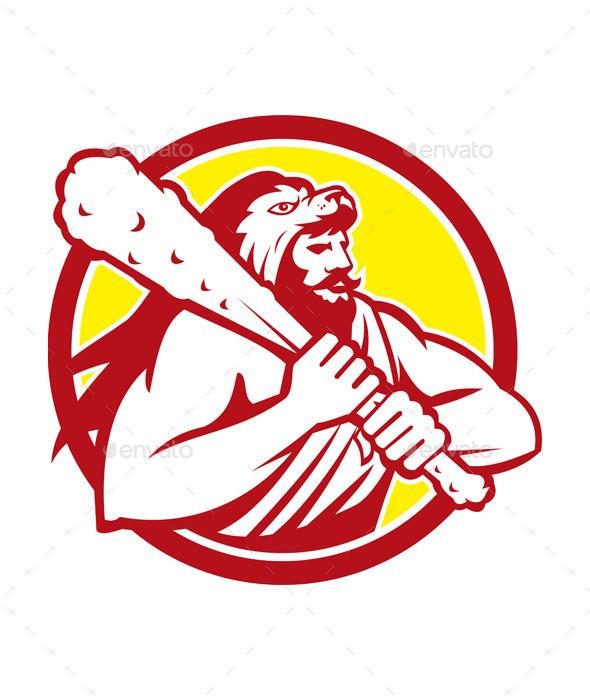 Hercules in Lion Skin Wields Club Retro Circle  - People Characters