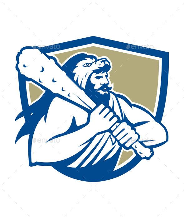 Hercules in Lion Skin Wields Club Retro Shield - People Characters