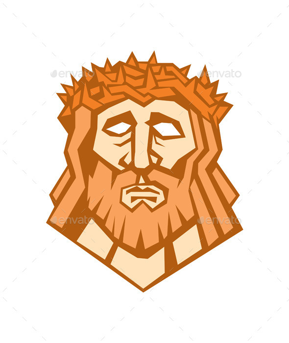 Jesus Christ Face with Crown of Thorns - People Characters