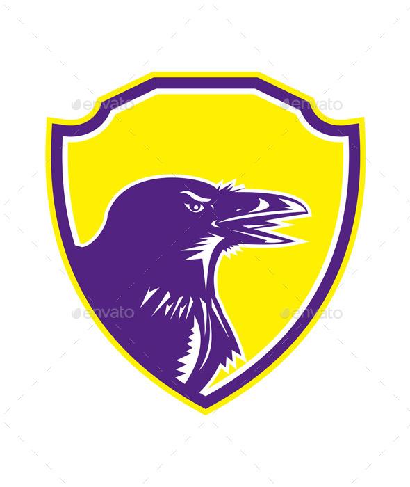 Raven Head Woodcut Retro Shield - Animals Characters