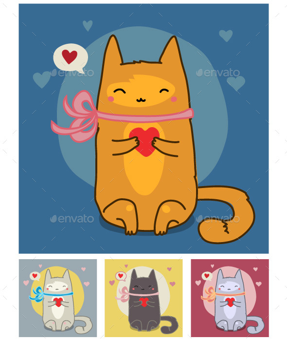 Red Cat on Blue - Animals Characters
