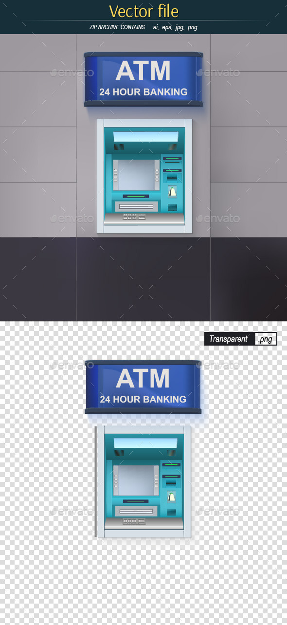 ATM with Lightbox - Man-made Objects Objects