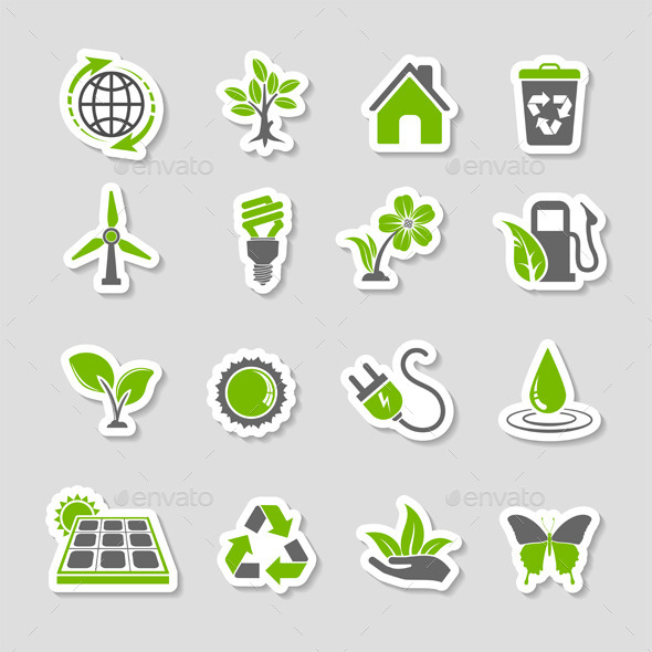 Environment Icons Sticker Set - Industries Business