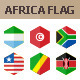 50 Africa Flag Icons. Hexagon Flat Design
