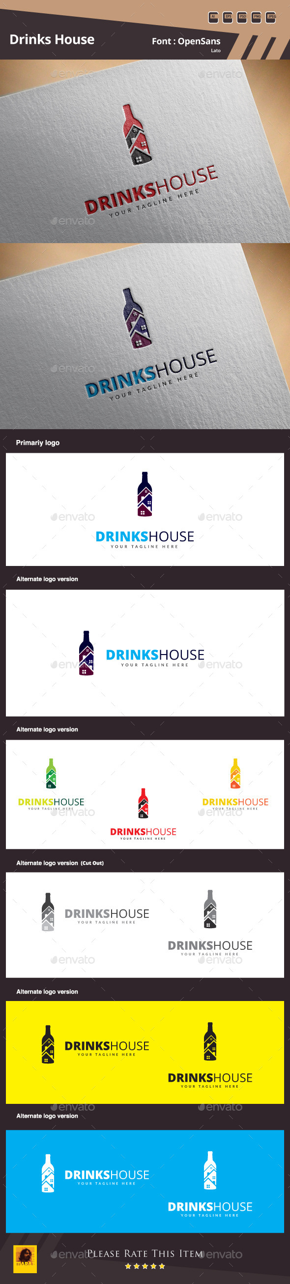 Drinks House Logo Template - Food Logo Templates