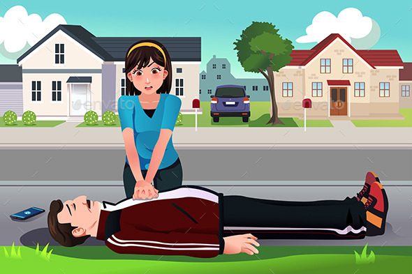 Teenager Giving a CPR to a Middle Aged Man - Health/Medicine Conceptual