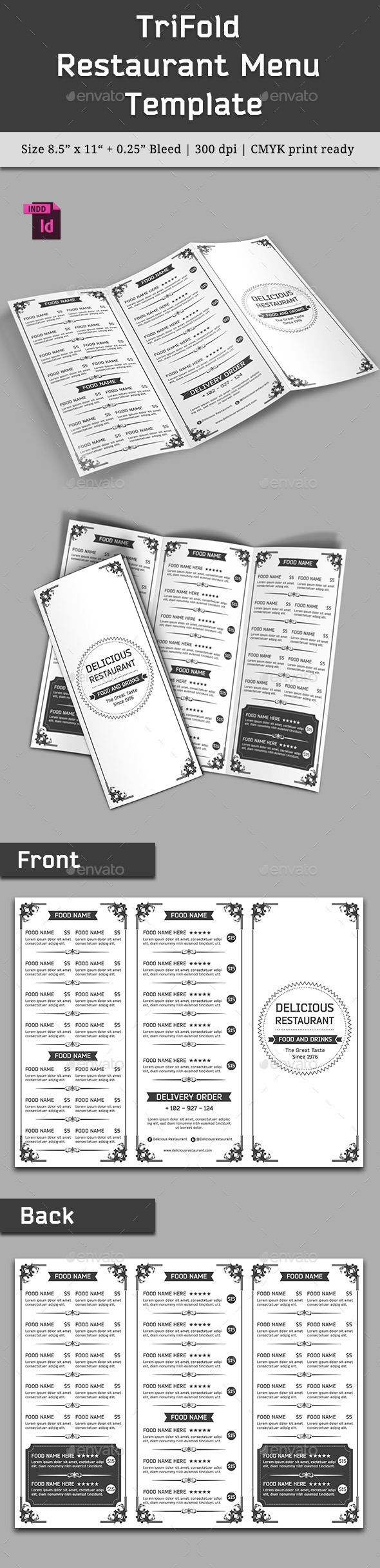 TriFold Restaurant Menu Template Vol. 7 - Food Menus Print Templates