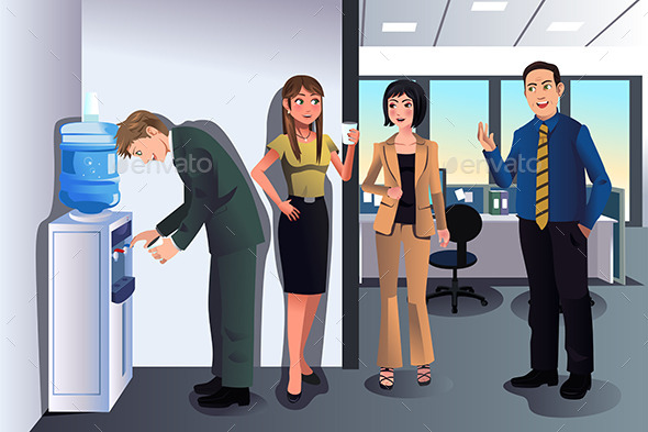 Business People Chatting Near a Water Cooler - Business Conceptual