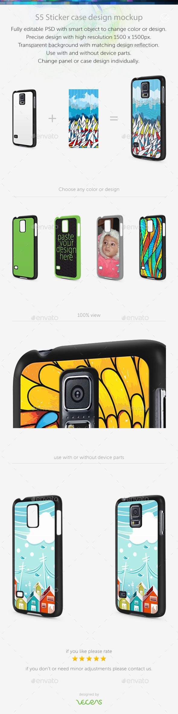 S5 Sticker Case Design Mockup - Mobile Displays