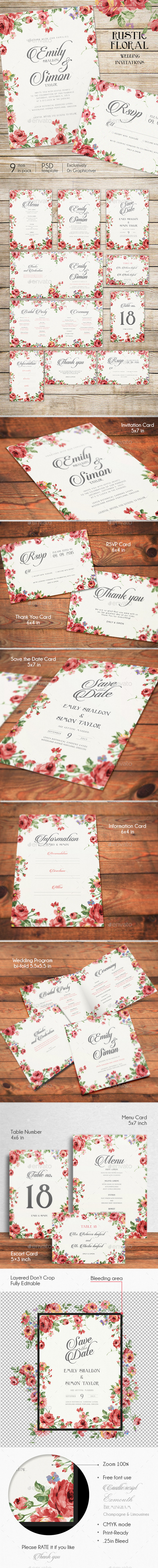 Rustic Floral Wedding Invitations - Weddings Cards & Invites