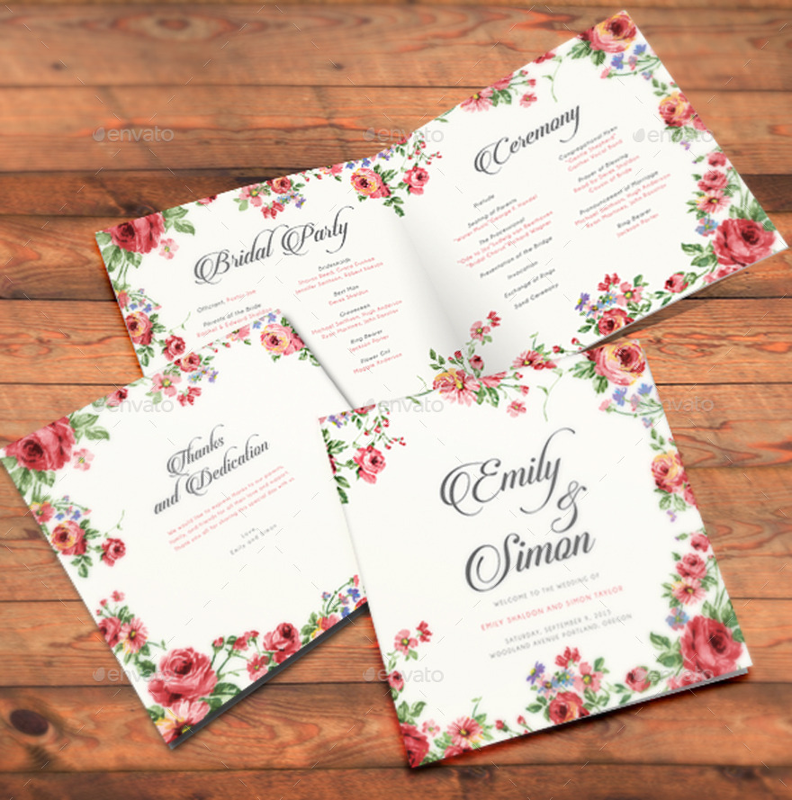Rustic Floral Wedding Invitations by BNIMIT | GraphicRiver