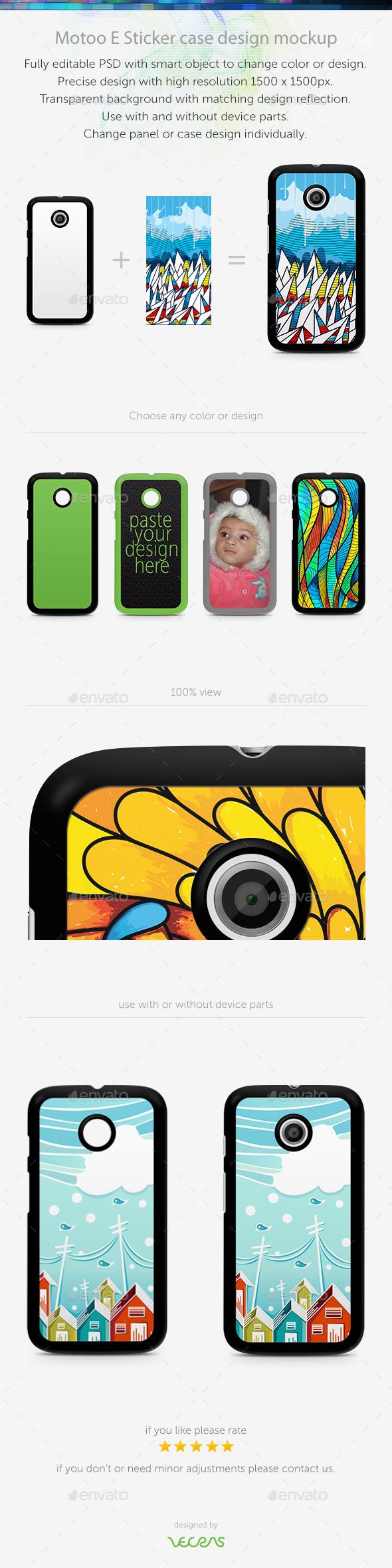 Motoo E Sticker Case Design Mockup - Mobile Displays