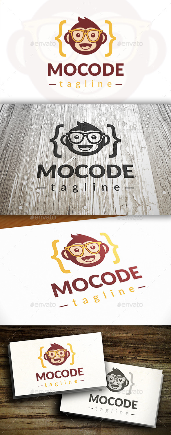 Monkey Code Logo - Animals Logo Templates