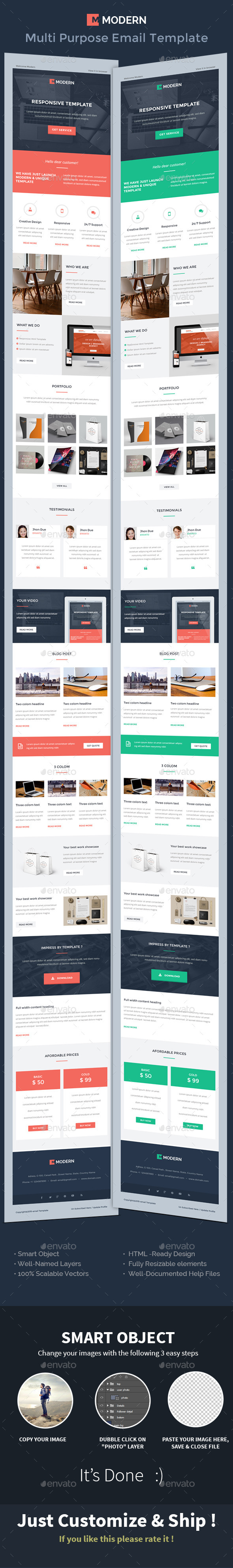 MODERN Responsive Multipurpose - e-Mail Template - E-newsletters Web Elements