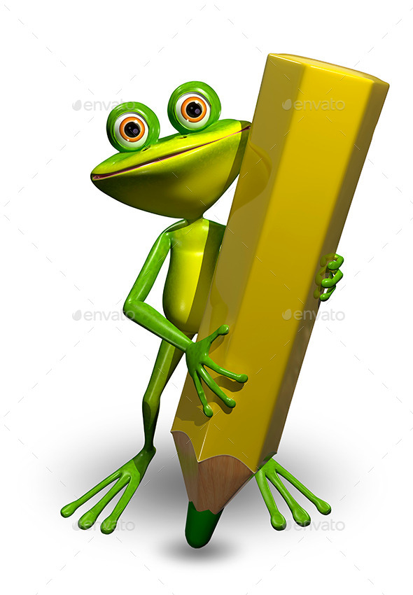 Frog and Pencil - Characters 3D Renders