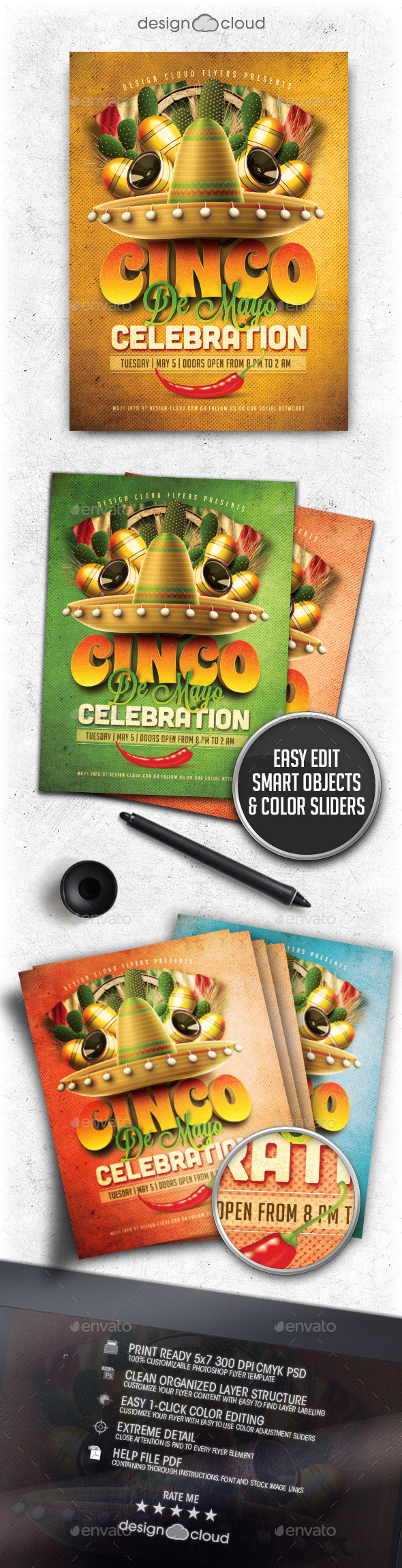 Cinco De Mayo Celebration Flyer Template - Holidays Events