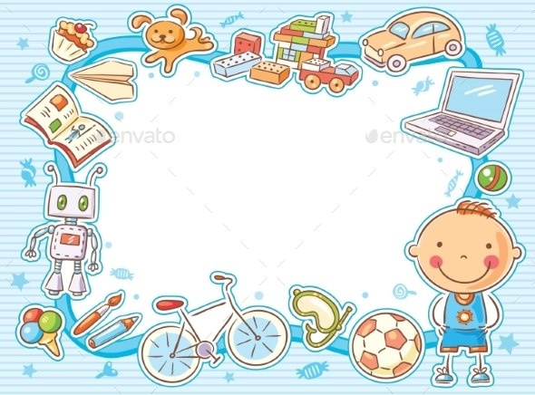 Blue Rectangular Frame with a Child and his Things - Borders Decorative