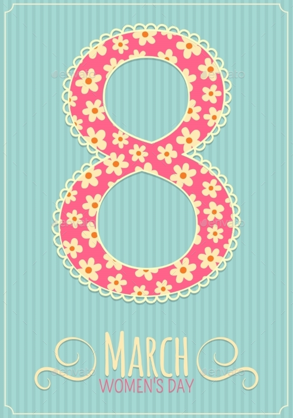 Eight 8 of March, Women's Day Background. - Decorative Vectors