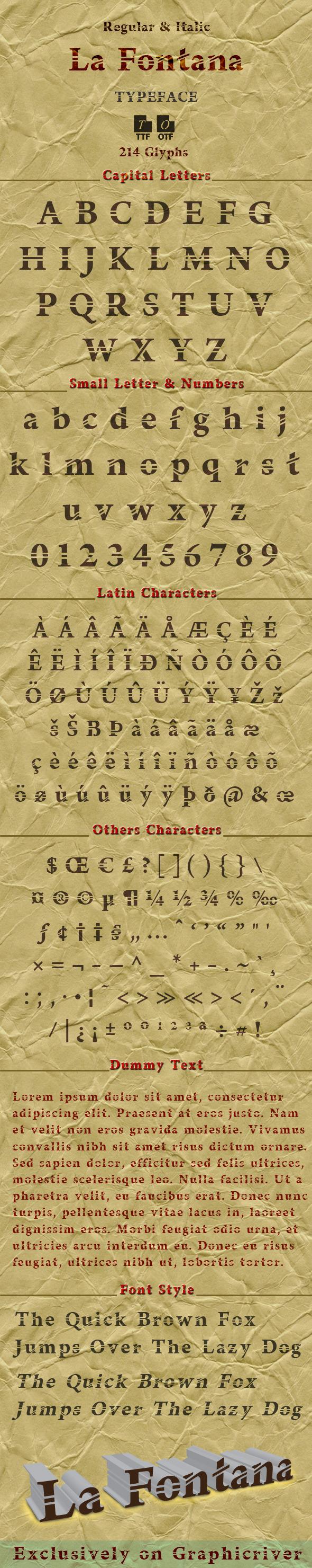 La Fontana typeface - Futuristic Decorative