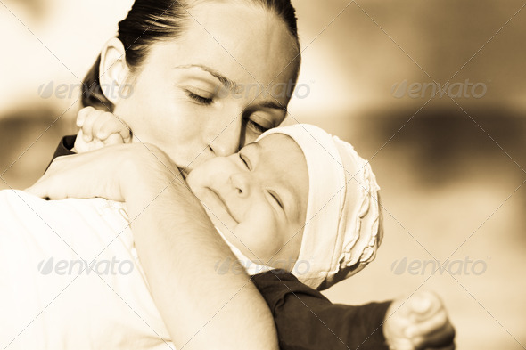 Beautiful mother and her daughter - Stock Photo - Images