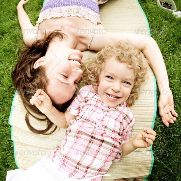 Woman and child having fun - Stock Photo - Images