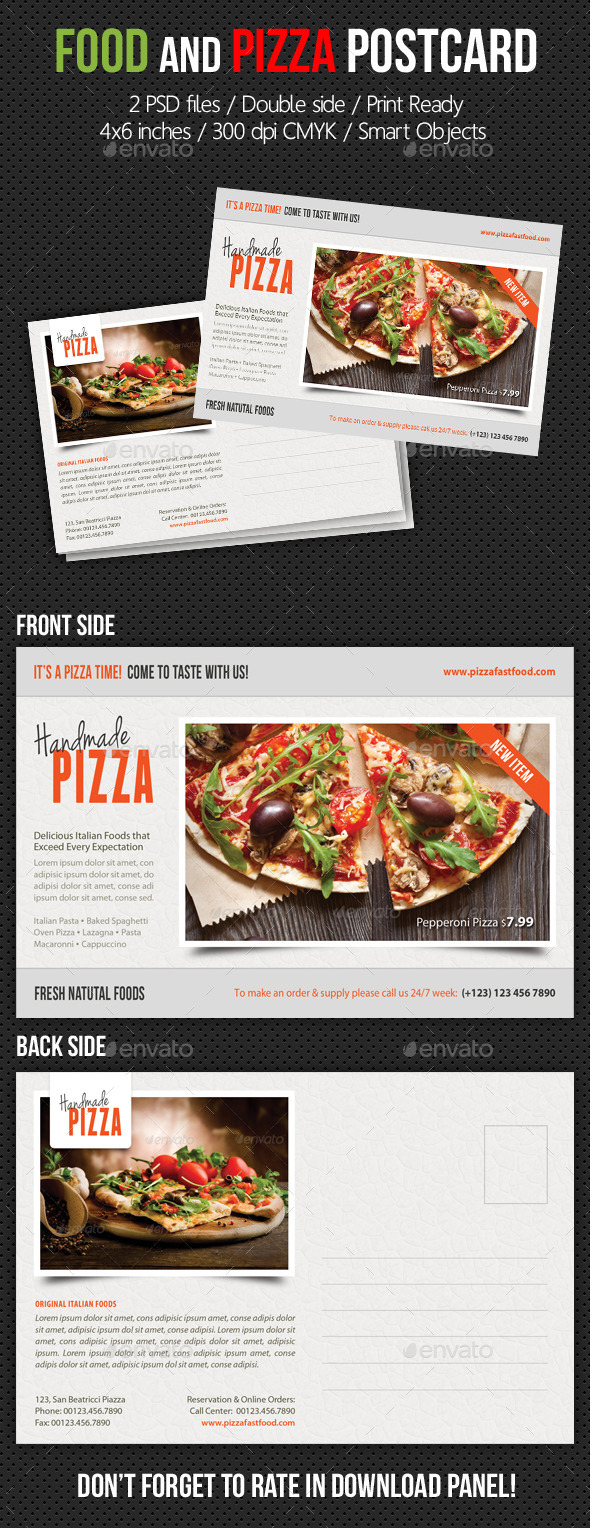 Food and Pizza Postcard Template V02 - Cards & Invites Print Templates