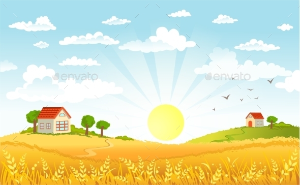 Countryside Panorama in the Morning - Landscapes Nature