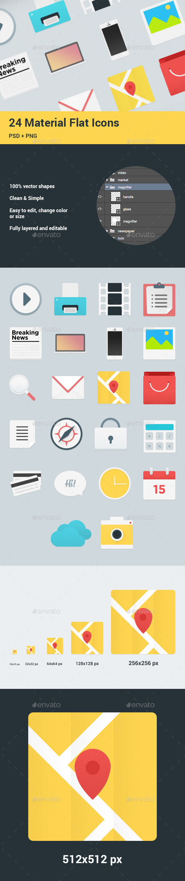 24 Flat Material Icons Set - Web Icons